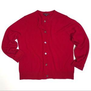 Eileen Fisher Red Merino Wool Crew Neck Cardigan